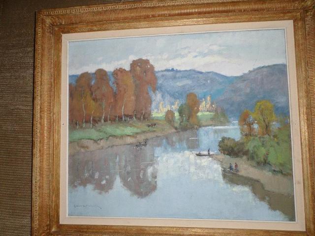 """PE1845 Lucien Maleville, huile sur toile """" Vallée de la Dordogne"""""""