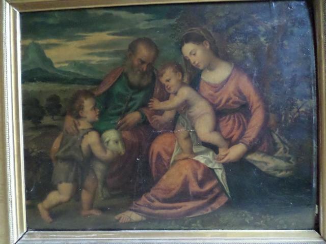 PE1921 1 huile sur panneau : Sainte Famille dans un paysage, d'après