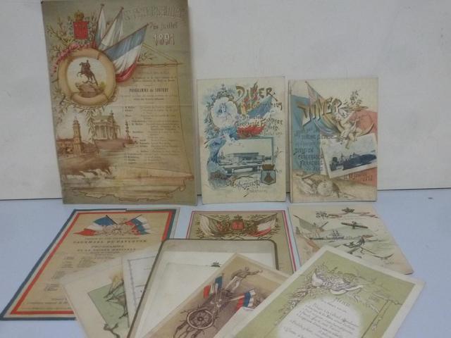 1 lot d'environ 15 menus dont : évènements 1891 à St Petersbourg,