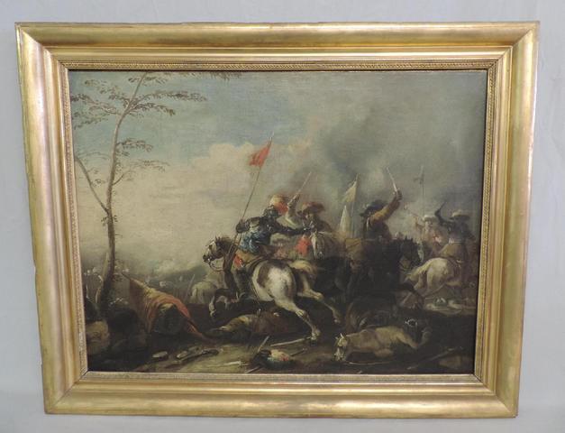 GW1112 - Courtois Jacques (dit le Bourguignon). Paire d' huiles sur