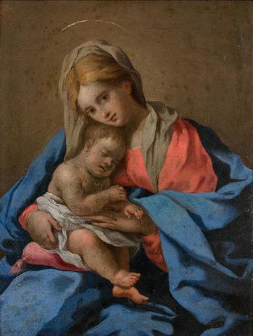 GW688 - Baugin Lubin ( 1612-1663).  Vierge à l'enfant. Cuivre D :