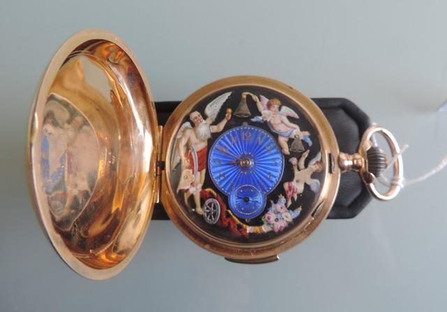 GW6019 - Une montre gousset automate en or jaune  18cts,  époque
