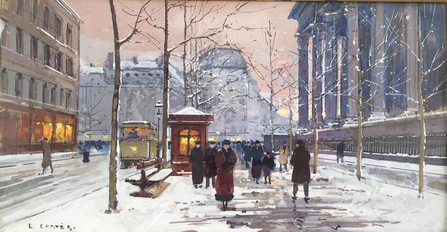 """CORTES Edouard (1882-1969)  """"Place de La Madeleine enneigée"""" c. 1925 Gouache"""