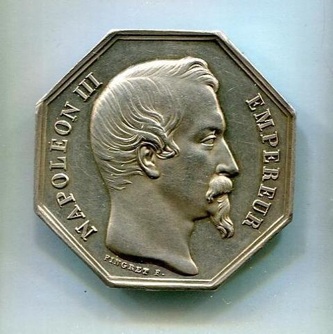 Banque de l'Ile de la Réunion : Jeton argent Napoléon III ND (1852/1860),