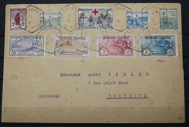 FRANCE, N°148/156 S/L OBL BORDEAUX 1919, CERTIF BEHR (C 3170 ).