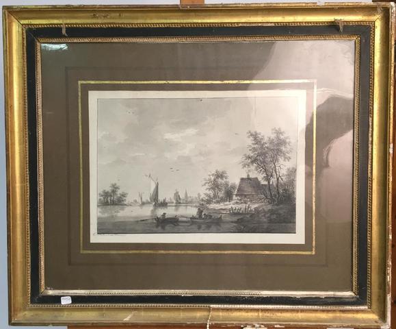 Nicolas WICART (1748-1815)  Pêcheurs sur rivière  Deux dessins