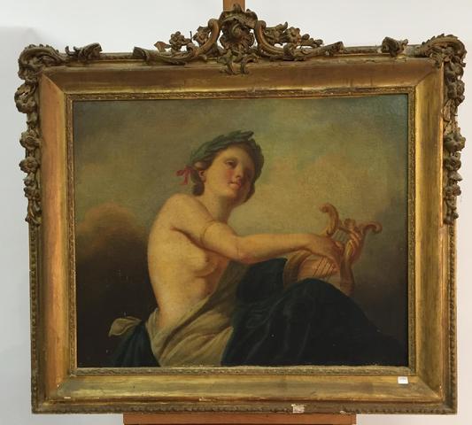 Ecole française XVIIIe  Muse de la musique  Peinture à l'huile