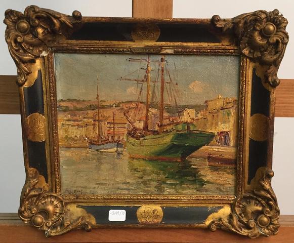 Henry MALFROY (1895-1944)  Bateau amarré  Peinture à l'huile sur