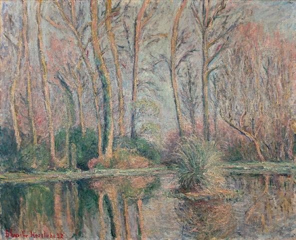 """Blanche HOSCHEDE-MONET (1865-1947) """"Le Bassin, 1927 Huile sur toile,"""