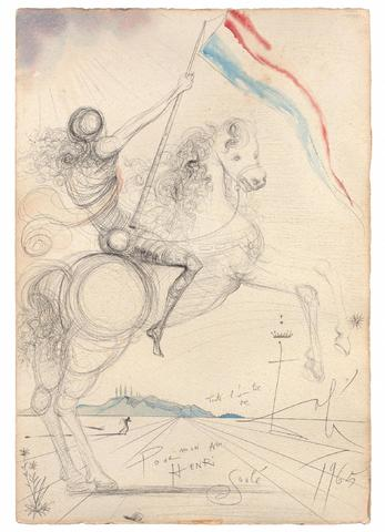 "Salvador DALI (1904-1989) ""Cavalier à  l étendard, 1965 Dessin"