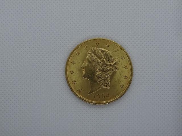 Pièce 20 dollars Etats unis, type liberté 1904, poids 33.43g