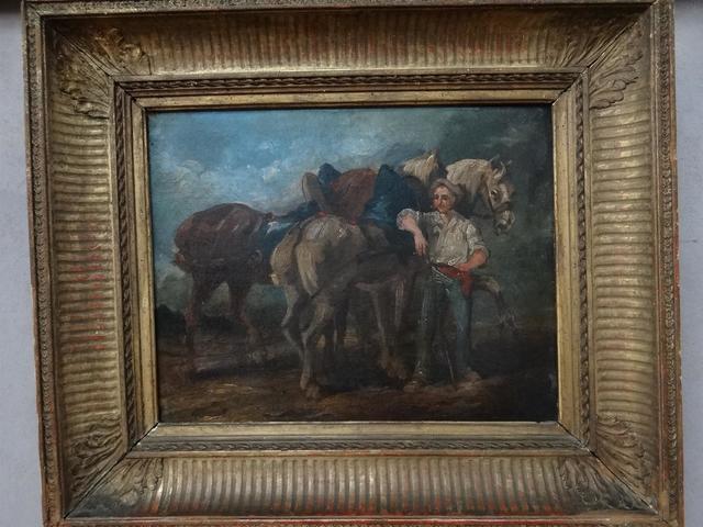 """Scène animée """"jeune homme et trois chevaux"""" Huile sur toiledébut"""