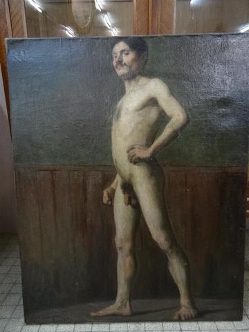 Jean Gabriel DOMERGUE (1889-1962) :Rare académie d'homme nu, huile