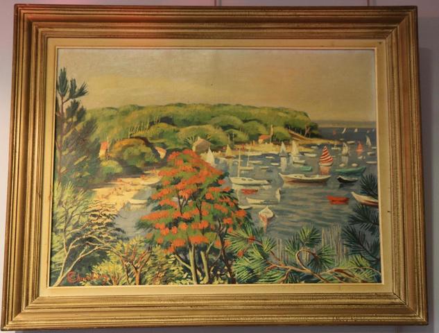 Etienne CHEVALIER (1910-1982) : Le bassin d'Arcachon. Huile sur toile