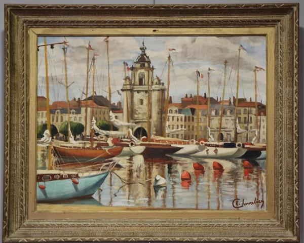 Etienne CHEVALIER (1910-1982) : Le port de la Rochelle. Huile sur