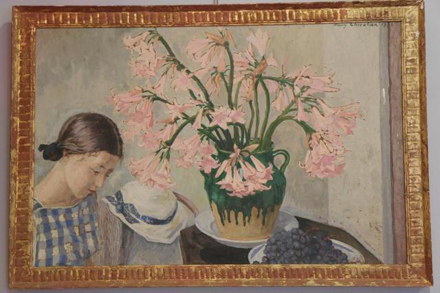 Henri CHEVALIER (1886-1945) : Jeune fille aux amaris. Huile sur carton