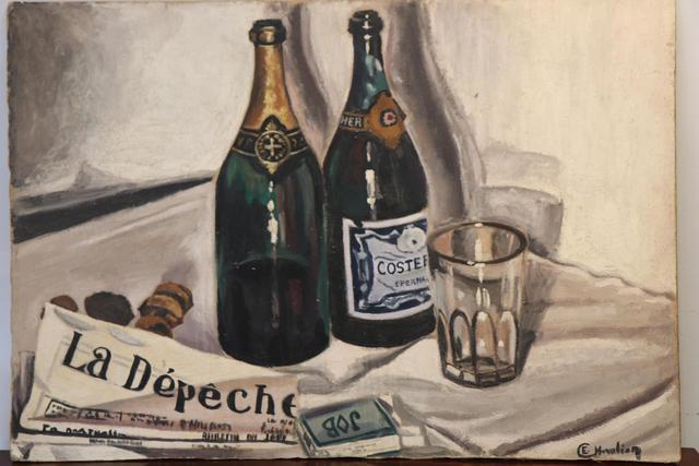 """Etienne CHEVALIER (1910-1982) :  Nature morte à la """"Dépêche"""". Huile"""