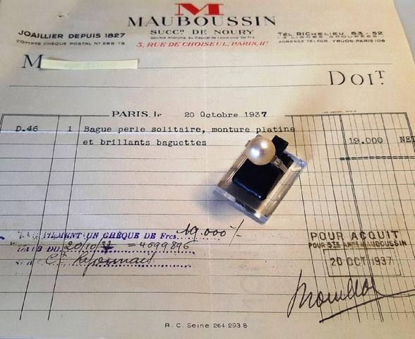 MAUBOUSSIN. Bague monture en platine, poinçon de joaillier Georges