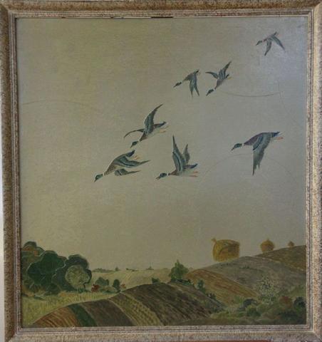 Léon JALLOT (1874 - 1967) - Le vol de canards sauvages, huile sur