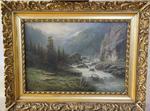 LEBERECHT LORTET - Le torrent, huile sur toile signée en bas à gauche.