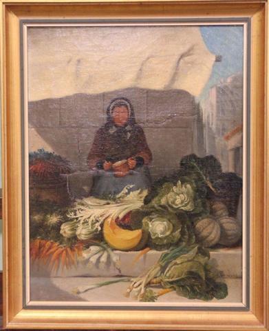 A. TRINQUIER - La marchande de légumes, huile sur toile signée en