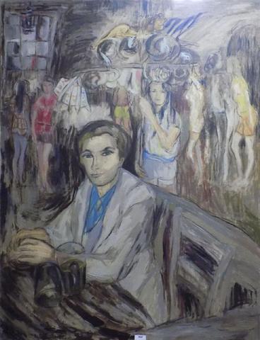Jean d'ARMAILLE - Cabaret, huile sur toile signée en bas à droite