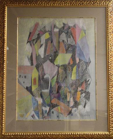 Adrien SEGUIN - Paysage abstrait, technique mixte signée en bas à