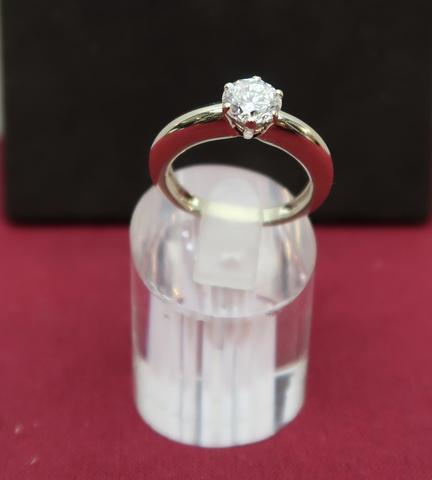 Bague monture poinçon illisible, diamant solitaire 1.2 carat, 6.5