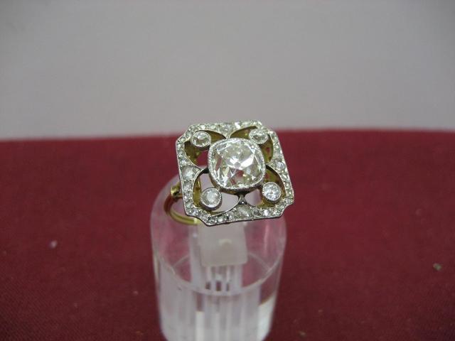 Bague ancienne, monture or gris, non poinçonnée, diamant central