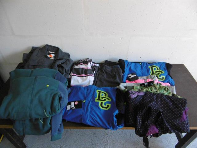 Lot d'environ 19 pièces :sweats-shirts DC, blousons de ski DC, pantalons