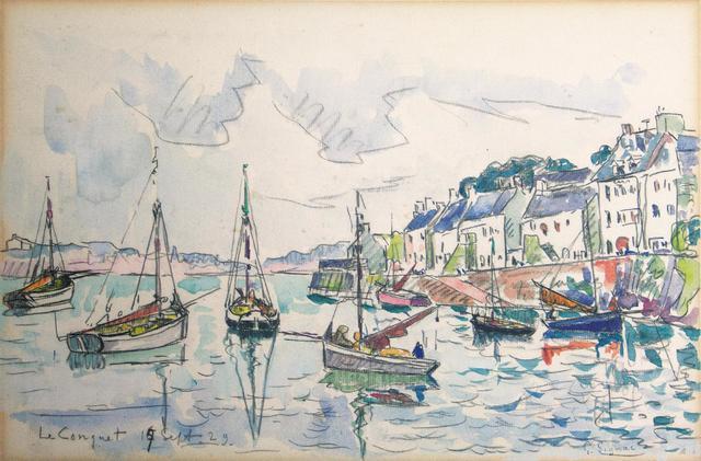 "Paul SIGNAC (1863 - 1935)  ""Le Conquet"", 17 septembre 1929  Crayon"