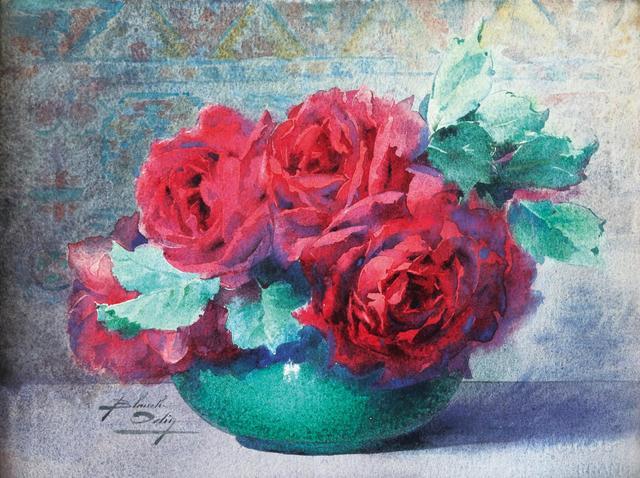 """Blanche ODIN (1865-1957), """"Bouquet de roses au vase vert"""", aquarelle"""