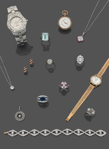 Bel ensemble de bijoux et montres. Expert: Mme Anne PELLERIN