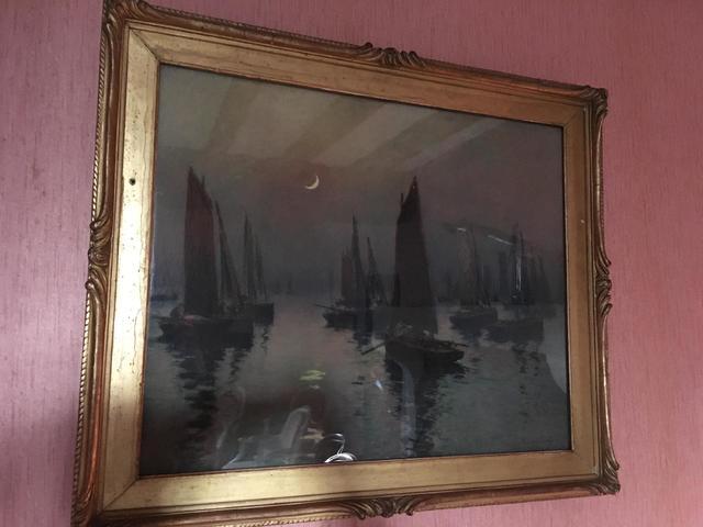 """Fernand LEGOUT-GERARD (1856-1924), """"Voiliers au clair de lune"""", pastel"""