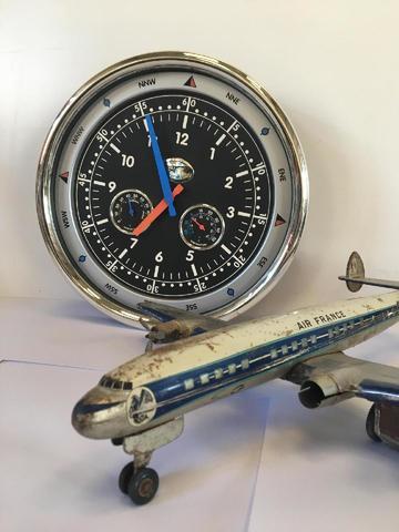 Horloge d'aviateur (diam 38 cm environ) et Avion JOUSTRA SUPER G F-BHBB
