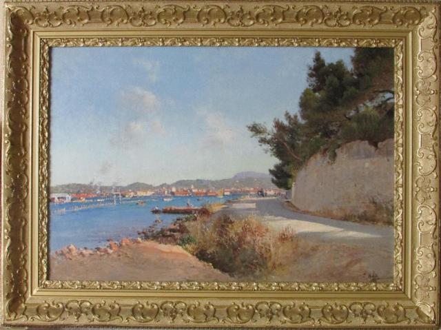 """François NARDI (1861-1936) """" Toulon depuis la corniche de Tamaris"""