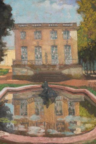 Charles DUFRESNE (1876-1938). Bassin à Versailles. Pastel signé