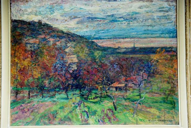 Victor Léon CHARRETON (1864 - 1936). Paysage aux vignes, huile sur