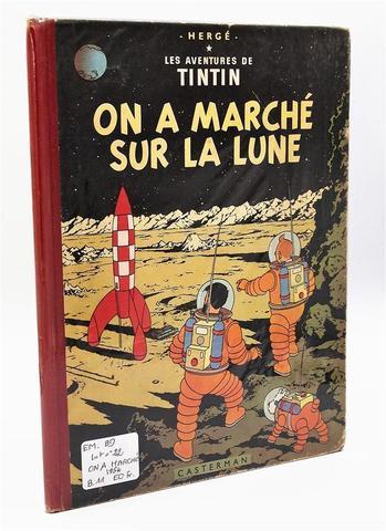 Hergé - Tintin On a marché sur la Lune 1954 B11 / Dos Rouge. EO