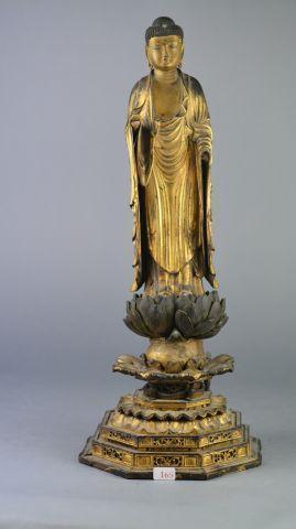 Bouddha en bois sculpté doré sur une fleur de lotus (Manques) Hauteur