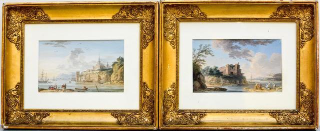 HACKERT Jacob Philipp (1737-1807). Paysages fluviaux animés. Paire