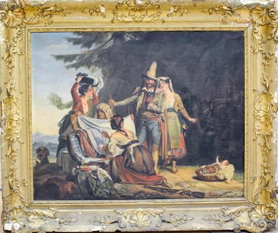 XIXe. Le brigant napolitain. Huile sur toile. Non signée. 65 X 82.