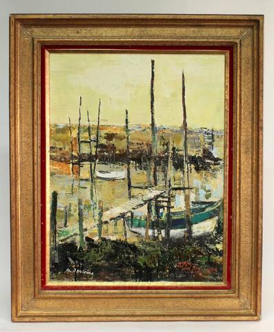 Michel Jouenne (1933) ''barque'', HST sbg, titrée au dos et contresignée,