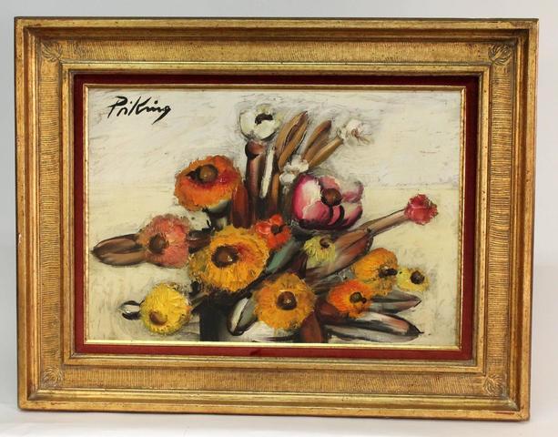 Franz Priking (1929-1979) ''Bouquet'' HST figurant une nature morte