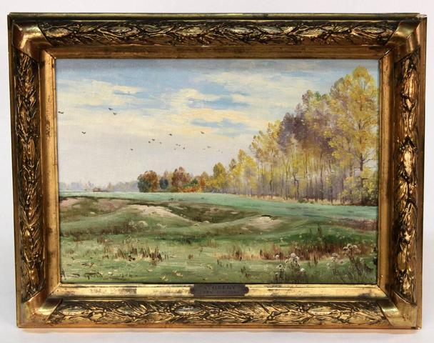 Armand Guery (1850-1912) HST figurant un paysage Automnal, sbg et