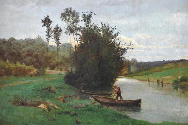 CHINTREUIL Antoine (1814-1873) Homme sur une barque le long de la