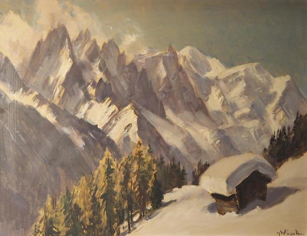 Marcel WIBAULT (1905-1998). Le Mont Blanc et les Aiguilles de Chamonix