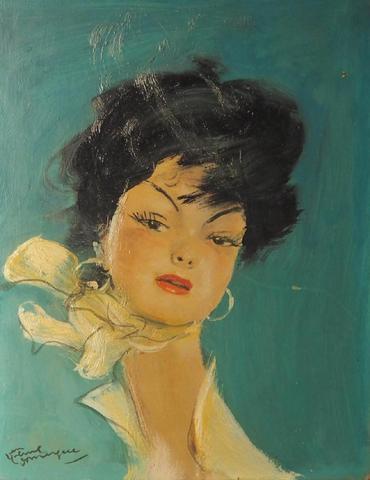 Jean Gabriel DOMERGUE (1889-1962). Portrait de Lola. Huile sur isorel,
