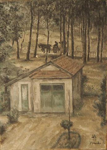 Toshio BANDO (1895-1973). Paysage à la calèche. Huile sur toile