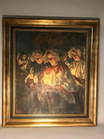 Othmar RUZICKA (1877-1962). La procession. Huile sur toile signée